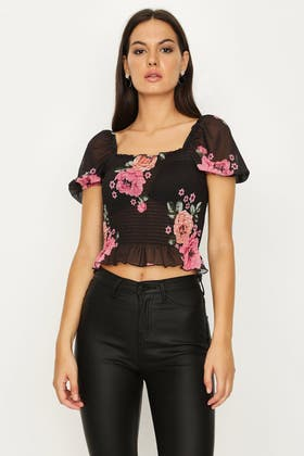 MULTI FLORAL MESH SHIRRED PUFF SLEEVE TOP