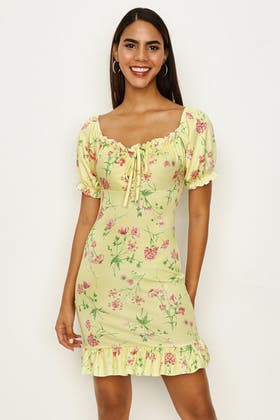 MULTI FLORAL PUFF SLEEVE JERSEY DRESS