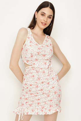 MULTI FLORAL RUCHED FRONT CO-ORD TOP