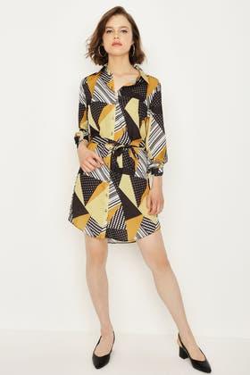 MULTI GEO PRINT SATIN SHIRT DRESS