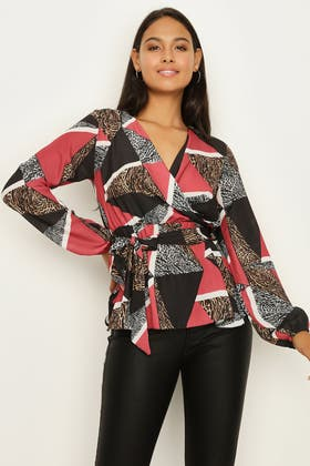 MULTI MIX ANIMAL TIE FRONT BLOUSE