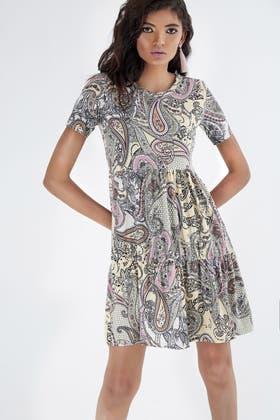MULTI PAISLEY JERSEY SMOCK DRESS