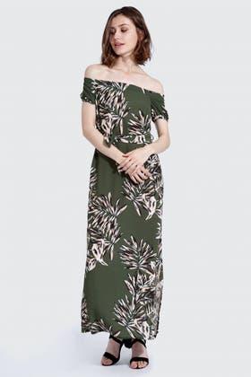 MULTI PALM PRINT BARDOT MAXI DRESS