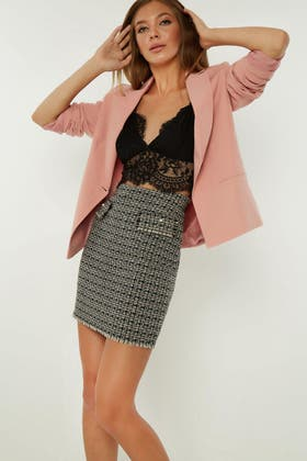 MULTI PEARL BUTTON BOUCLE SKIRT
