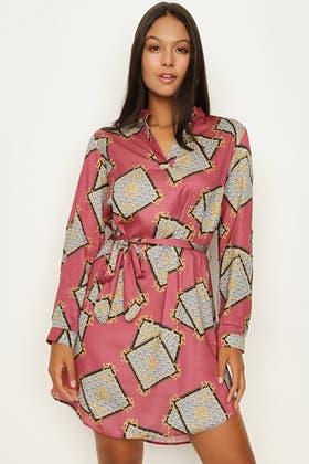 MULTI PRINTED SATIN SHIRT DRESS