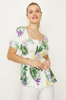 MULTI PRINTED SHIRRED WOVEN BLOUSE
