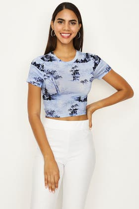 MULTI PRINTED SHORT SLEEVE STRAPPY BACK CROP