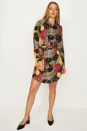 MULTI SHOULDER PAD PRINTED SATIN SHIRT DRESS