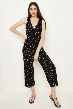 MULTI WRAP FRONT DITSY JERSEY JUMPSUIT