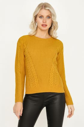 MUSTARD CABLE & RIB JUMPER WITH LACE UP FRONT