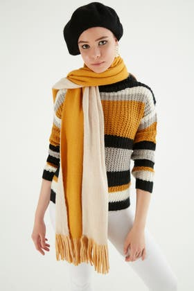 MUSTARD COLOUR BLOCK KNITTED SCARF