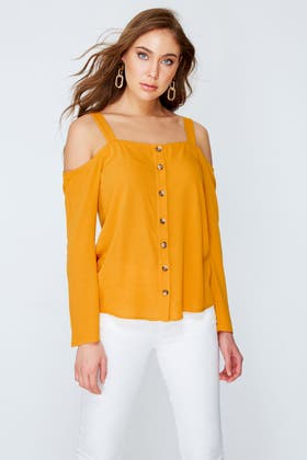 MUSTARD CRINKLE COLD SHOULDER BUTTON THROUGH BLOUSE