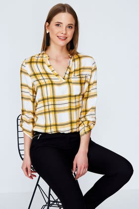 MUSTARD DOUBLE CHECK ELASTICATED BLOUSE