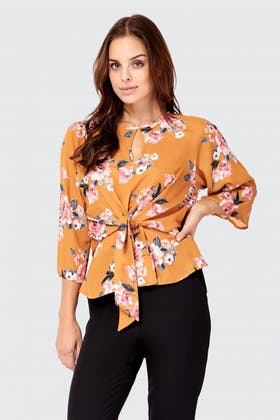 MUSTARD FLORAL 3/4 SLEEVE BLOUSE