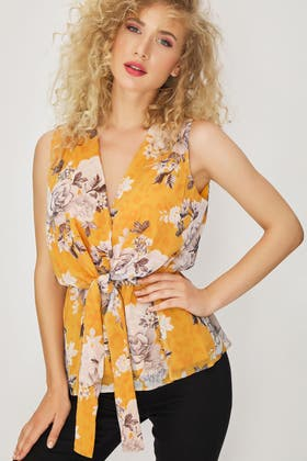 MUSTARD FLORAL CHIFFON TIE FRONT WRAP BLOUSE