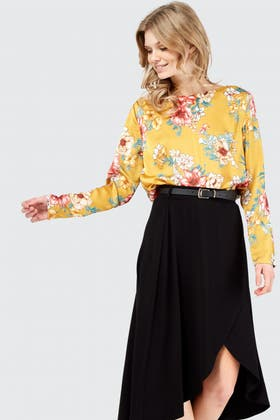 MUSTARD Floral Cowl Neck Bodysuit