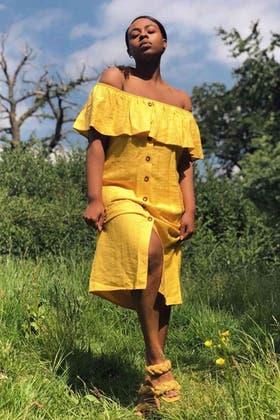 MUSTARD FRILL BUTTON THROUGH BARDOT DRESS