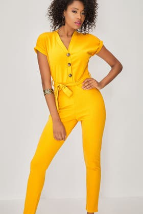 MUSTARD HORN BUTTON BELTED SKINNY JUMPSUIT