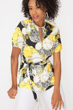 MUSTARD PRINTED SHORT SLEEVE TIE FRONT BLOUSE