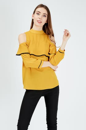 LIGHT-MUSTARD RUFFLE TIPPING COLD SHOULDER BLOUSE