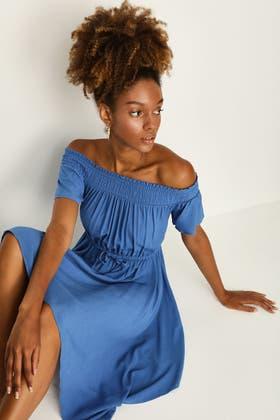 MYKONOS BLUE CRINKLE SHIRRED BARDOT TEA DRESS