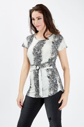 NATURAL ALL OVER SNAKE BELTED TEE