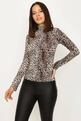 NATURAL ANIMAL ROLL NECK