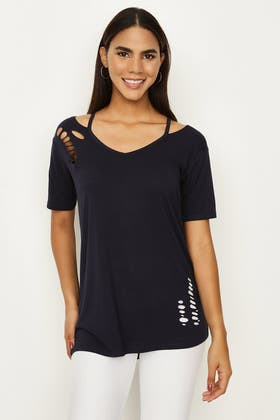 NAVY DECONSTRUCTED NIBBLED TEE
