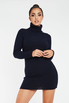 NAVY KNITTED POLO MINI DRESS