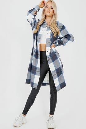 NAVY Longline Thick Colour Block Checked Shirt Jacket Shacket