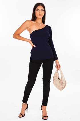 NAVY One Shoulder Knitted Jumper