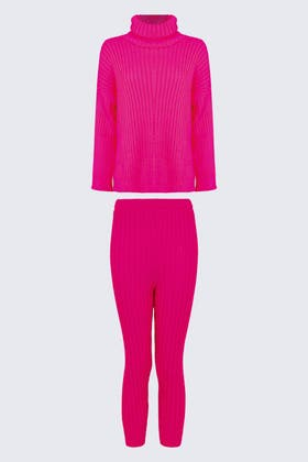 FLURO CORAL Knitted Leggings And Top