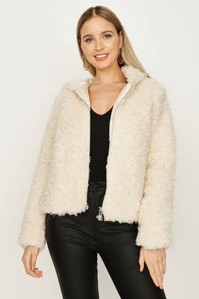 NEUTRAL CURLY FUR HOODED JACKET