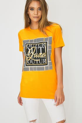 NEW MUSTARD COUTURE CHECK SLOGAN TEE