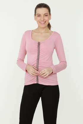NEW NUDE RUCHED DIAMANTE TRIM TOP