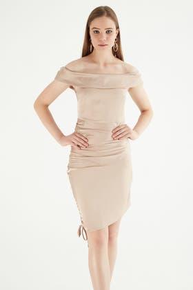 NUDE Bardot Ruched Satin Mini Dress