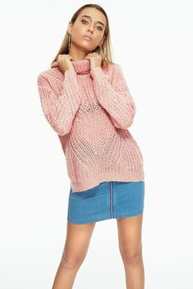NUDE BRUSHED CABLE STITCH ROLLNECK JUMPER