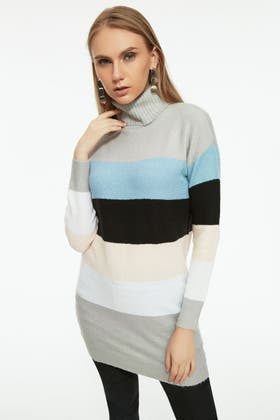NUDE BRUSHED STRIPE ROLL NECK TUNIC