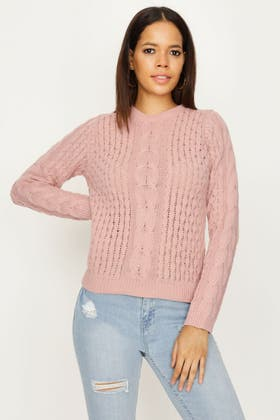 NUDE CABLE AND HONEYCOMB STITCH JUMPER