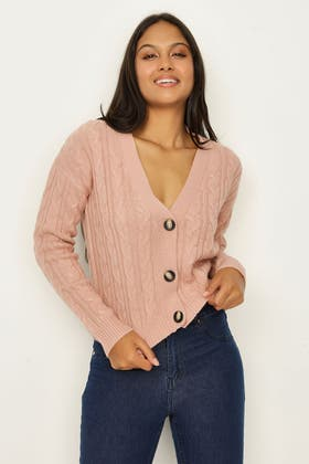 NUDE CABLE BUTTON CARDIGAN