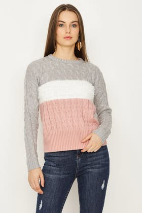 NUDE CABLE COLOURBLOCK WITH EYELASH JUMPER