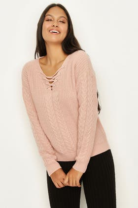NUDE CABLE LACE UP JUMPER