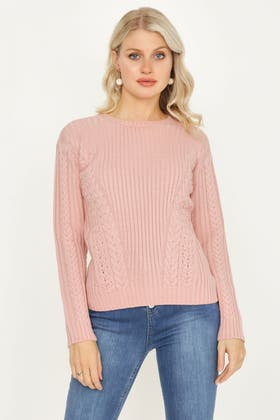 NUDE CABLE & RIB JUMPER WITH LACE UP FRONT