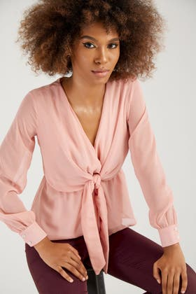NUDE CHIFFON LS TIE FRONT BLOUSE