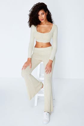 OATMEAL CUT AND SEW RIBBED CO-ORD FLARES