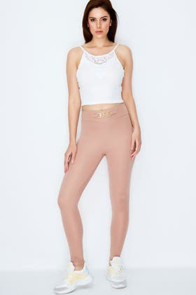 BISCUIT HIGH WAISTED PONTI BUCKLE LEGGING