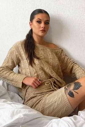 BEIGE Knitted Cable Loungewear Set
