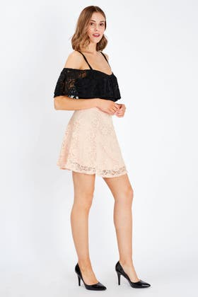 NUDE LACE SKATER SKIRT