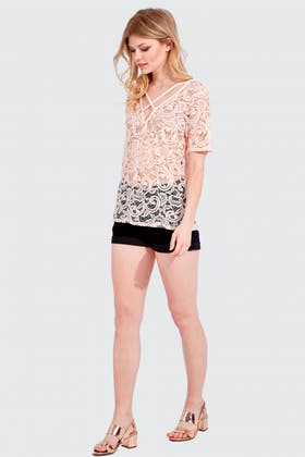 NEW NUDE LACE X FRONT TEE