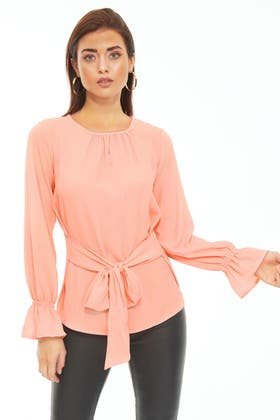 NUDE TIE FRONT ELASTICATED BLOUSE